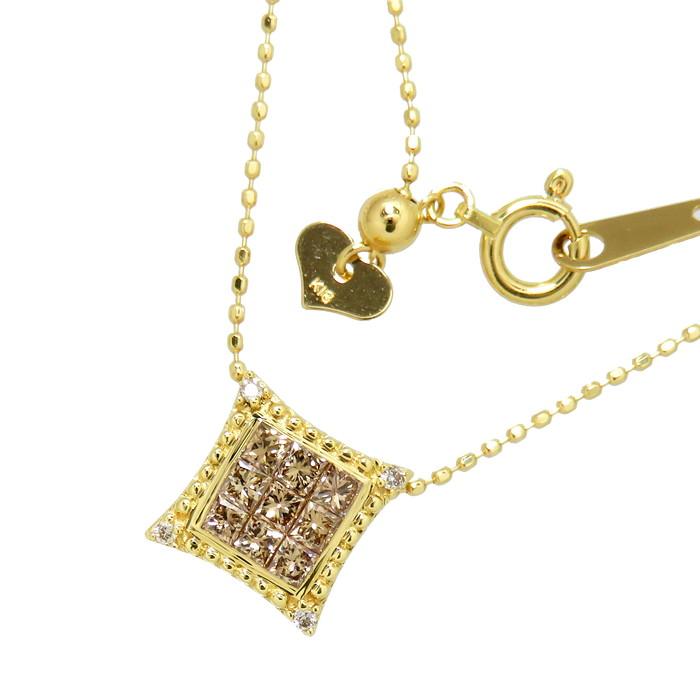 ミステリーセッティング ダイヤモンド 計0.34ct ネックレス K18ゴールド 18金 3.0g 45.5cm レディース【中古】【真子質店】【IMiK】