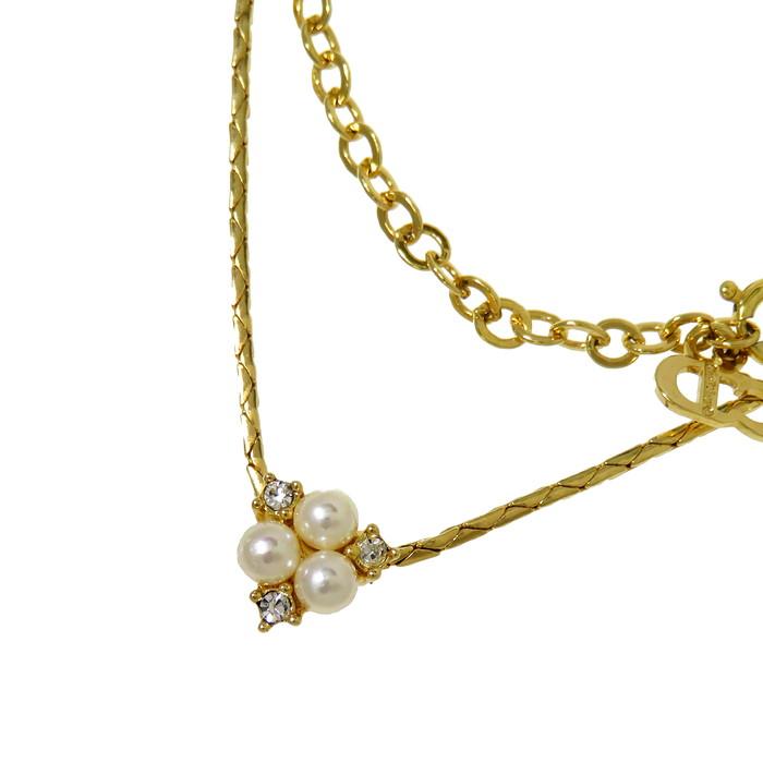 【Christian Dior/クリスチャンディオール】 フェイクパール ラインストーン ネックレス GP 5.3g 44.5cm レディース【中古】【真子質店】【BL】【DS】