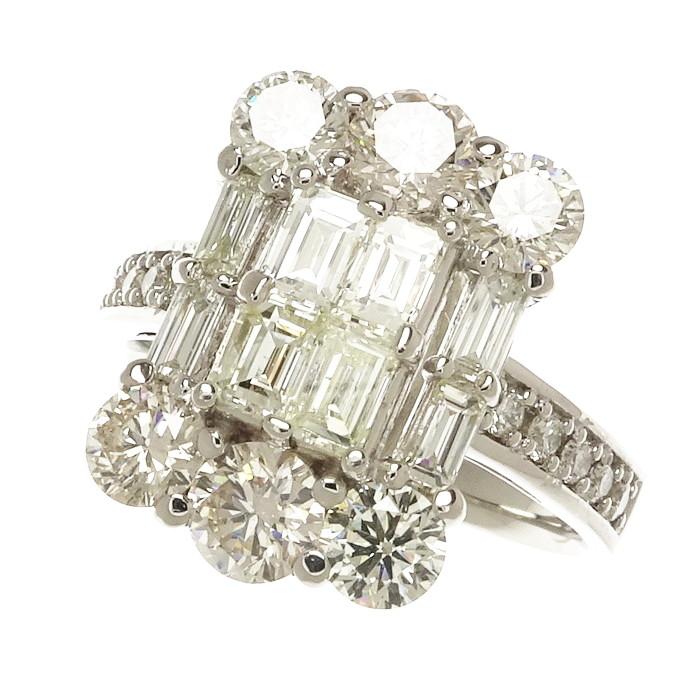 13号 スクエア ダイヤモンド 2.00ct リング・指輪 Pt900プラチナ 6.4g レディース【中古】【真子質店】【SIK】