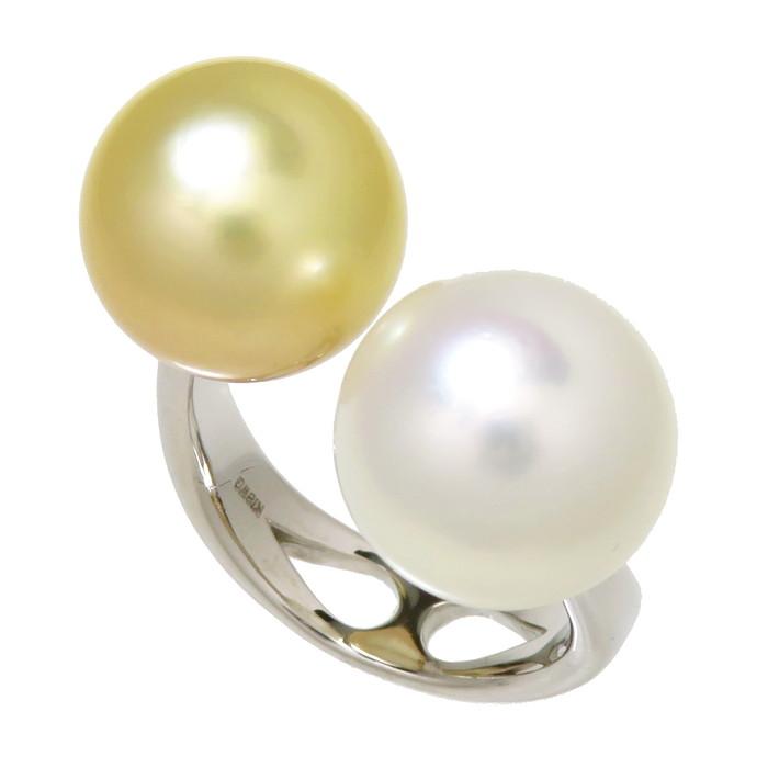 10号 2カラー 白蝶真珠 約11.8mm程度 リング・指輪 K18WGホワイトゴールド 18金 8.2g レディース【中古】【真子質店】【MaIS】