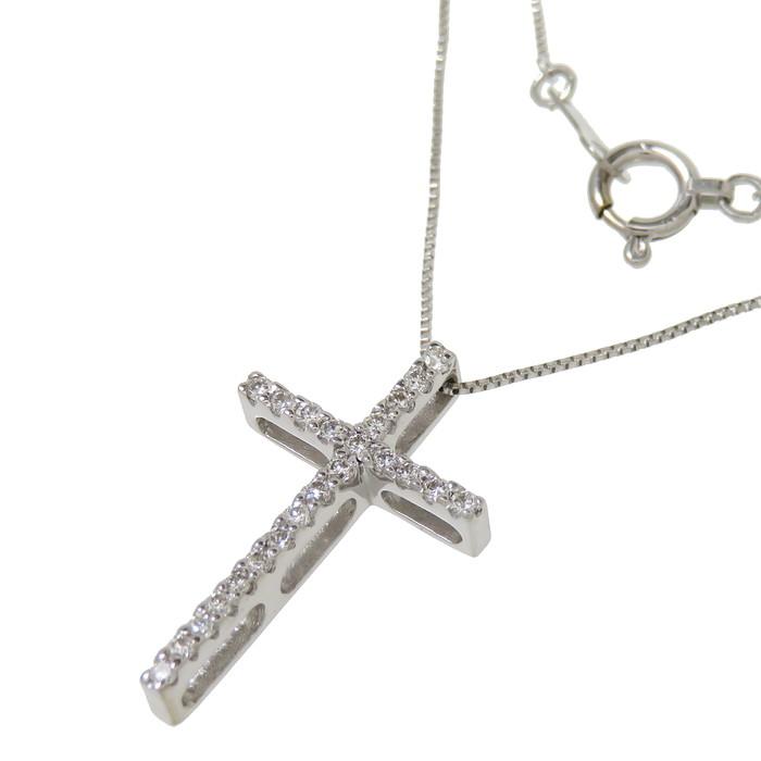 クロス/十字架 ダイヤモンド 計0.15ct ネックレス K18WGホワイトゴールド 18金 2.0g 45cm レディース【中古】【真子質店】【IMaT】