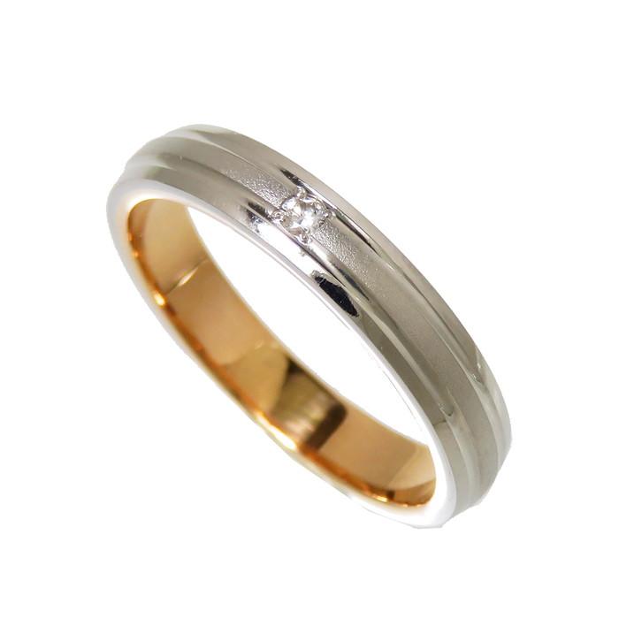 ダイヤモンド×コンビカラー 5.5号 コンビカラー 一部艶消し ダイヤモンド リング 指輪 Pt900プラチナ IMax SALE開催中 年間定番 中古 18金 K18PGピンクゴールド 3.0g 真子質店 レディース