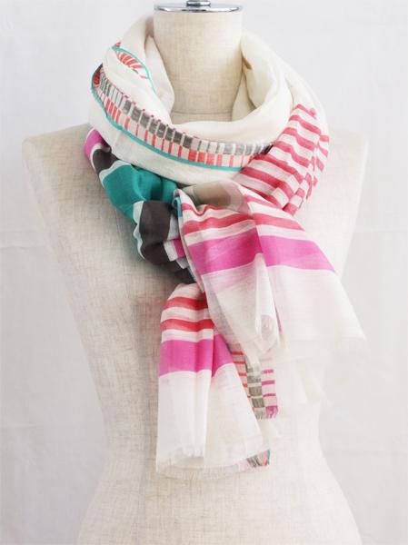 Sale Paris design cotton with INOUI TOOSH inuitouche playfulness, 50% 50% silk 50% border INOUITOOSH Liberte Green/Pink