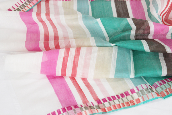Sale Paris design cotton with INOUI TOOSH inuitouche playfulness, 50% 50% silk 50% border INOUITOOSH Liberte Green/Pink