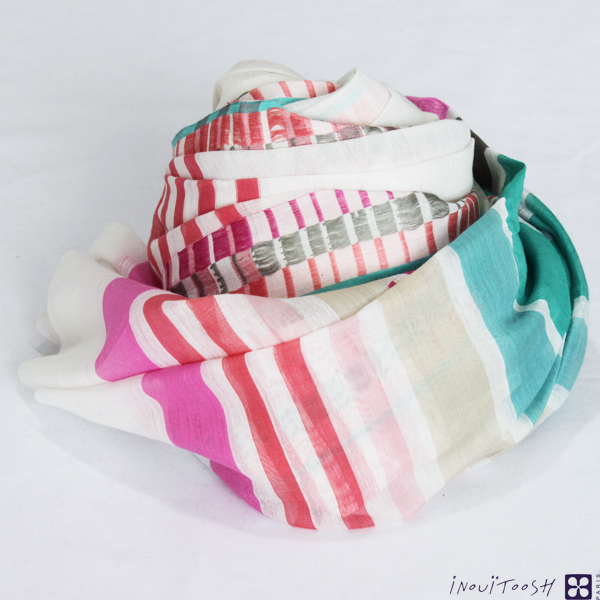 Sale 50%INOUI TOOSH inuitushu随意的心情充满的巴黎设计棉布50%丝绸50%边缘INOUITOOSH Liberte Green/Pink