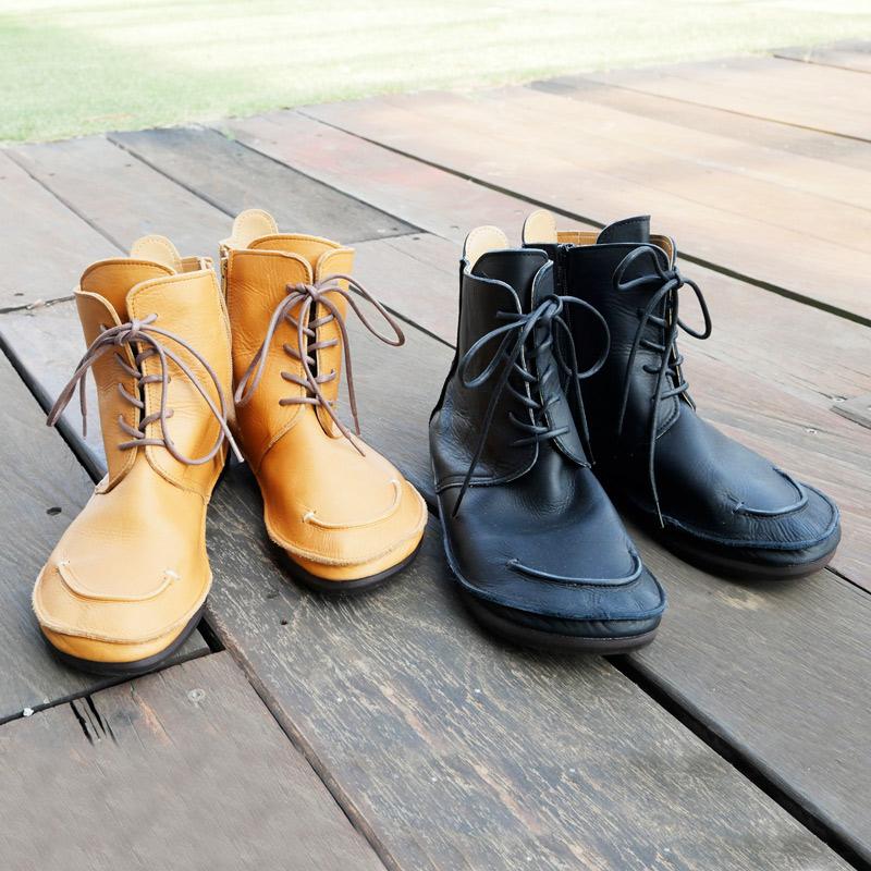 レザーレースアップブーツ/【エスニックファッション】/【送料無料】/ブーツ/ショートブーツ/ジップアップ/レースアップ/レザーブーツ/ブーツ/レディース/レザー/エスニック/ナチュラル/レディースファッション