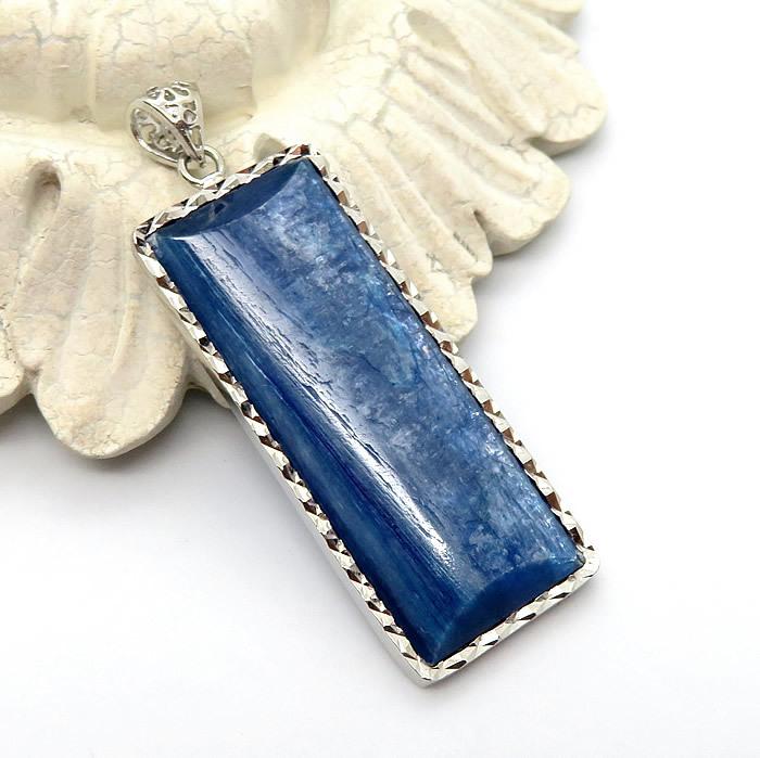 カイヤナイト 藍晶石 チェーン付き 送料無料 ペンダント ネックレス 天然石 パワーストーン シルバー925 タンザニア産 流行のアイテム アクセサリー プレゼント SV925 値引き カイヤナイトAAAA ジュエリー ステンレスチェーン 一点物