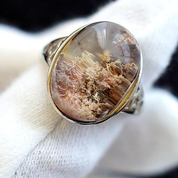 ガーデンクォーツ リング 指輪 くり抜きリング シルバー925 大特価 天然石 パワーストーン アクセサリー ジュエリー レディース SV925 ガーデン水晶 フリーサイズ プレゼント ギフトラッピング無料 メンズ トレンド 一点物 庭園水晶 苔入り水晶