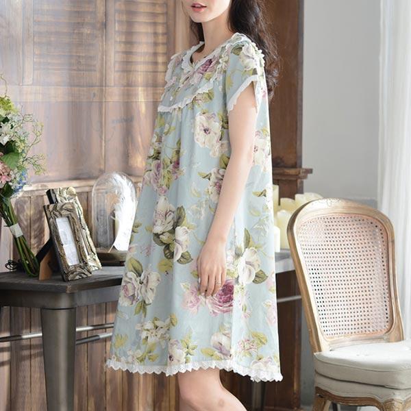 花柄 半袖 ひざ丈 クラシカル ロマンチック ワンピース パジャマ 部屋着 ルームウエア ネグリジェ