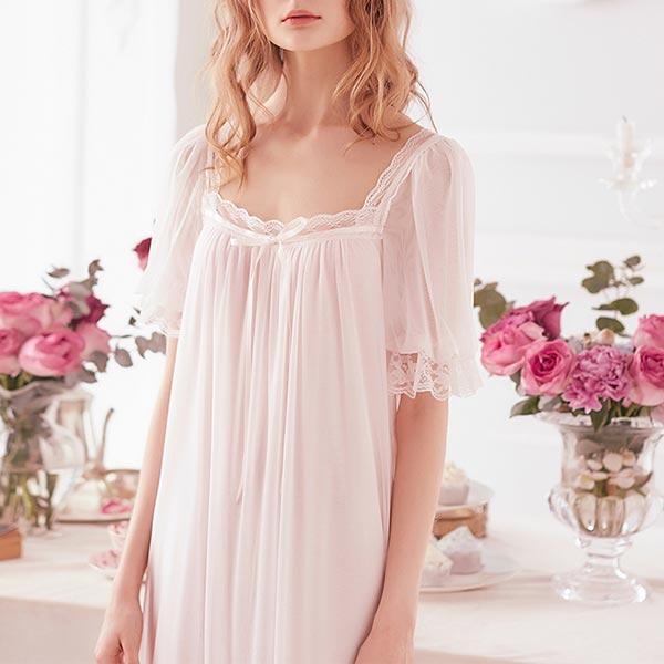 ロマンチック シアー 半袖 膝丈 ドレス ワンピース パジャマ 部屋着 ルームウエア ネグリジェ