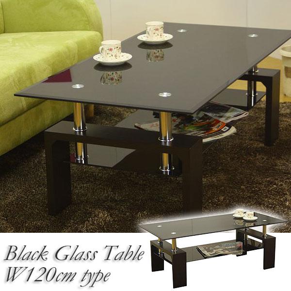 \ ポイント2倍~ マラソン期間中 / ガラステーブル ピース2 120 GT-02 (リビングテーブル センターテーブル ガラステーブル) ブラックガラスのおしゃれでスマートなガラステーブル