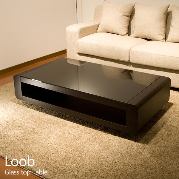 リビングテーブル ガラステーブル ブラックガラス Loob 673d-130 幅1300 センターテーブル ローテーブル モダン デザイン ブラックガラストップリビングテーブル