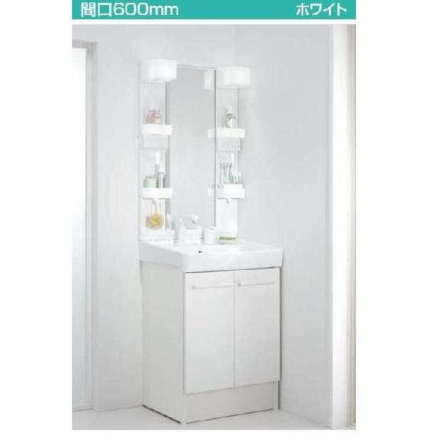 INAX 洗面化粧台 オフト600 洗髪シャワー水栓+1面鏡ロングミラー(LED照明)FTV1N-605SY+MFTX1-601YPJ送料無料