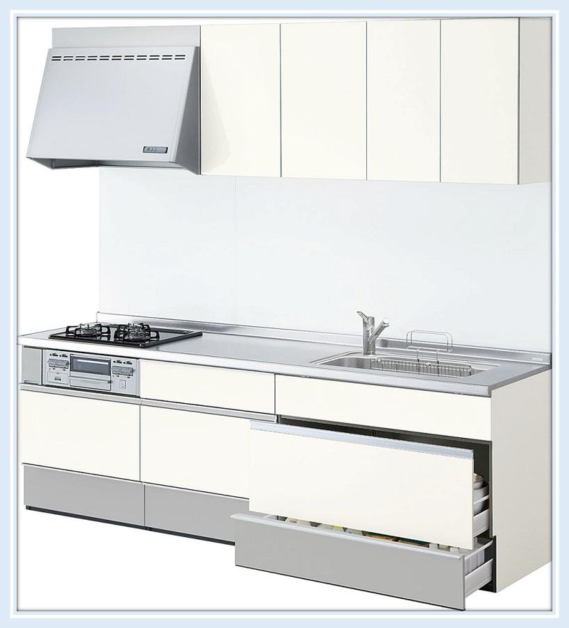 リクシル システムキッチン シエラ 間口2550mスライド(スライドストッカープラン) 送料無料