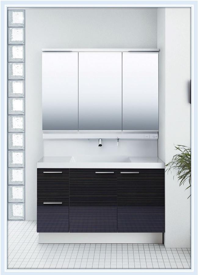 INAX 洗面化粧台 エルシィ 1200mm引出しタイプ ミドルグレード+3面鏡(LCY1H-1205SY-A+MLCY1-1203TXJU)送料無料
