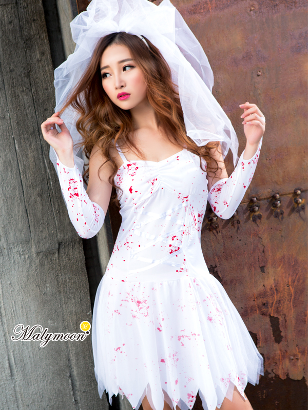 Bloody bride zombie horror system white costume play Halloween clothes long  skirt costume ghost ghost white wedding dress disguise wedding ceremony