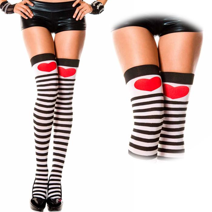 d3dc45b9e51 Striped knee high knee high heart stockings knee high tights border black  cosplay costumes cosplay socks ...