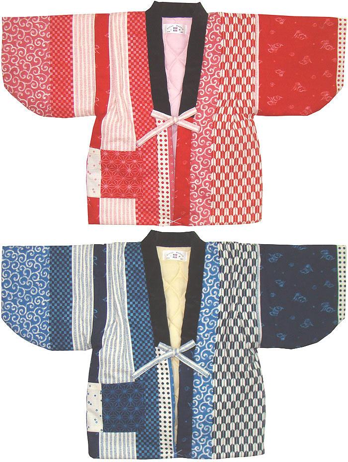 日本製の和柄 江戸小紋柄 期間限定今なら送料無料 子供 こども 別珍衿 はんてん 男女児向き 日本製 半天 中綿入りあったか ベビー 子供用 毎週更新 120~130cm 伴天