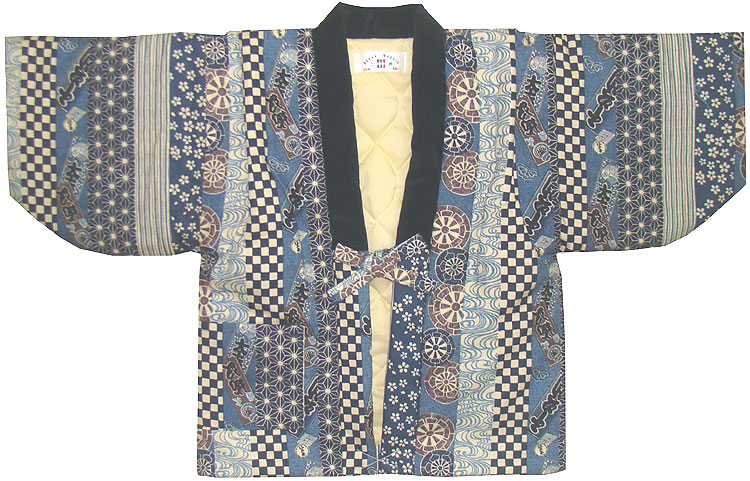 日本製の和柄 江戸紋様 子供 こども 別珍衿 はんてん 日本製 別珍衿はんてん 中綿入りあったか ベビー ハンテン 90~110cm 半天 超定番 時間指定不可 用 半纏