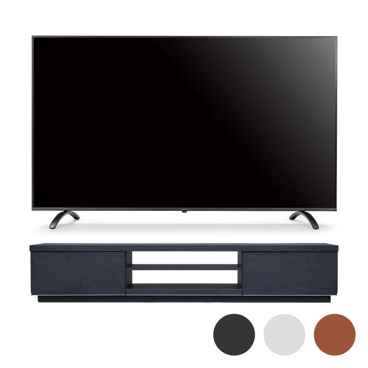 4Kテレビ 155型 音声操作 テレビ台BAB150黒送料無料 テレビ テレビ台 セット TV 4K 音声操作 155型 黒 引き出し アイリスオーヤマ