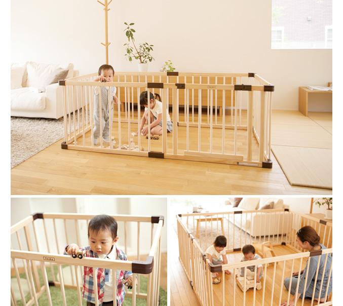 Fruska wooden playpen joint playpen with door panels neo 746055 natural