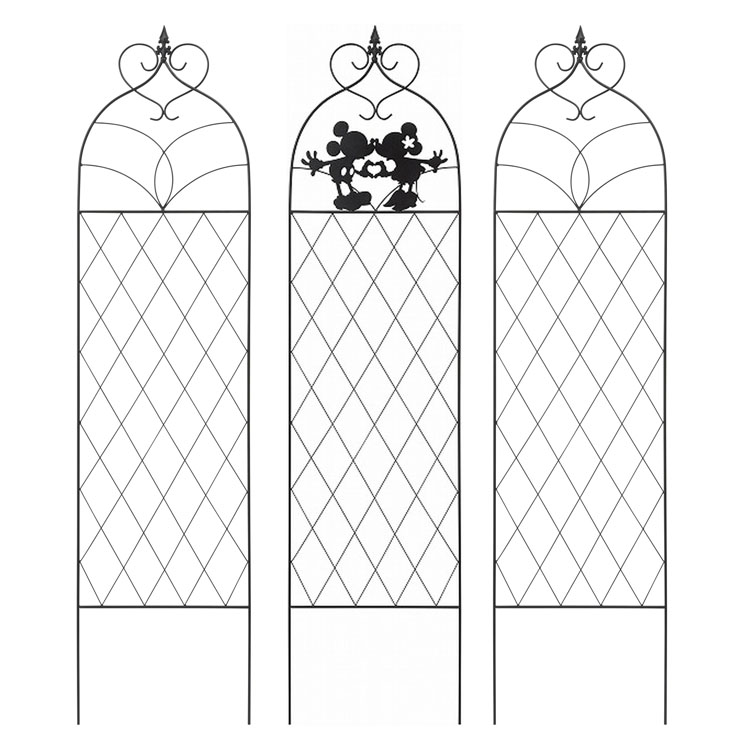 ガーデントレリス3枚組 ハート ミッキー&ミニー ブラック TD-TR03S3送料無料 ディズニー Disney ガーデニング 庭 玄関 スチール かわいい 可愛い オーナメント タカショー 【D】