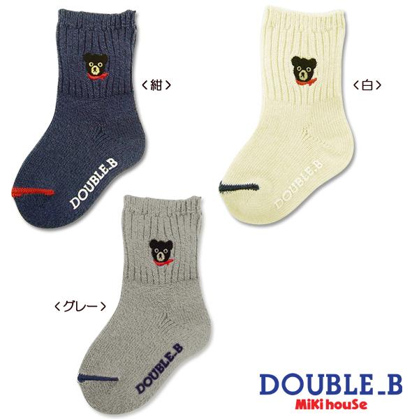 더블 B 원 포인트 블랙 베어 양말 (9-19cm)