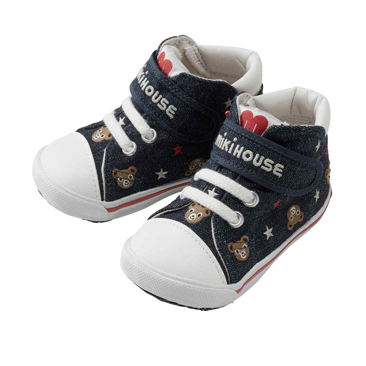 ぷちプッチー★総柄セカンドベビーシューズ ミキハウス ベビー mikihouse 靴(13cm-15.5cm)(日本製)