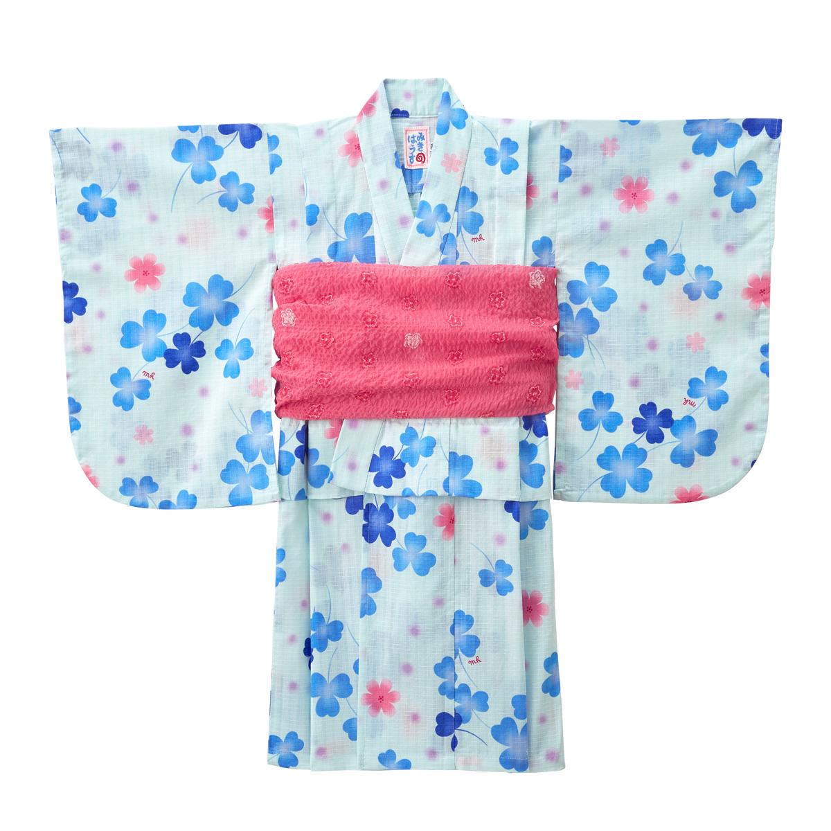 【ミキハウス mikihouse】クローバー柄浴衣(女児用)(120cm)