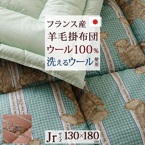 増税前500円引クーポン★ジュニア掛布団/日本製/ジュニア羊毛100掛けふとん/ラインベアジュニア