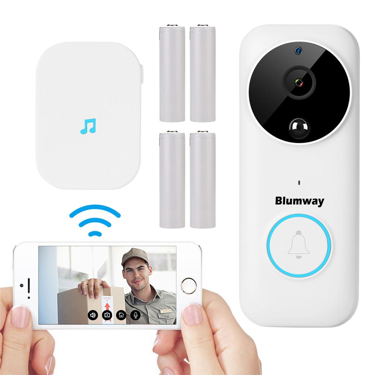 1080P リアルタイムビデオ会話 ワイヤレス認証済 限定モデル 日本語取説と日本語動画付き Blumway 進化版 ワイヤレスインターホン ビデオドアホン 1080HDリアルタイムビデオ会話機能 ナイトビジョン PIR動き検出 Wi-Fi対応 300M感知 166度広角レンズ ホワイト 介護 呼び出し 防盗用 来客 お得クーポン発行中 充電式バッテリと日本語取扱説明動画付き 携帯コントロール可能
