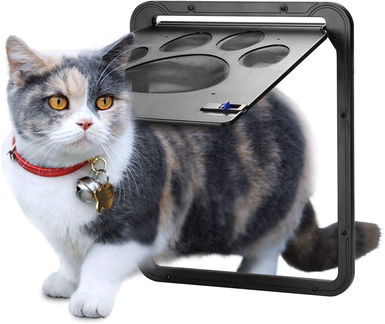 Ownpets ランキングTOP10 ペットドア 網戸専用 網戸用ペットの出入り口 OWNPETS 取付簡単 猫 挿し込む式ドア グレー 完全送料無料 ペット出入り口 ロック付き 24cm×29cm 磁石設計 小型犬用