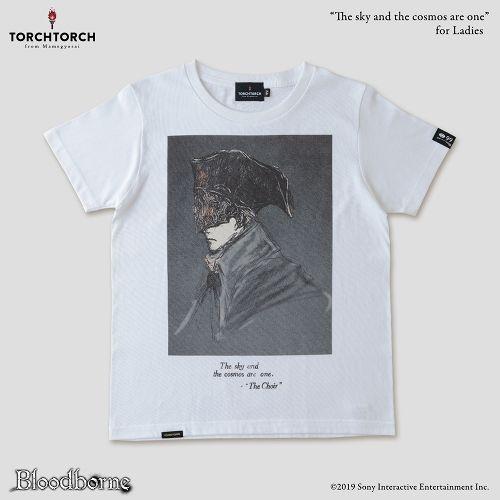 在庫品 市場 安い TORCH Bloodborne × Tシャツコレクション: レディース Lサイズ ホワイト 宇宙は空にある