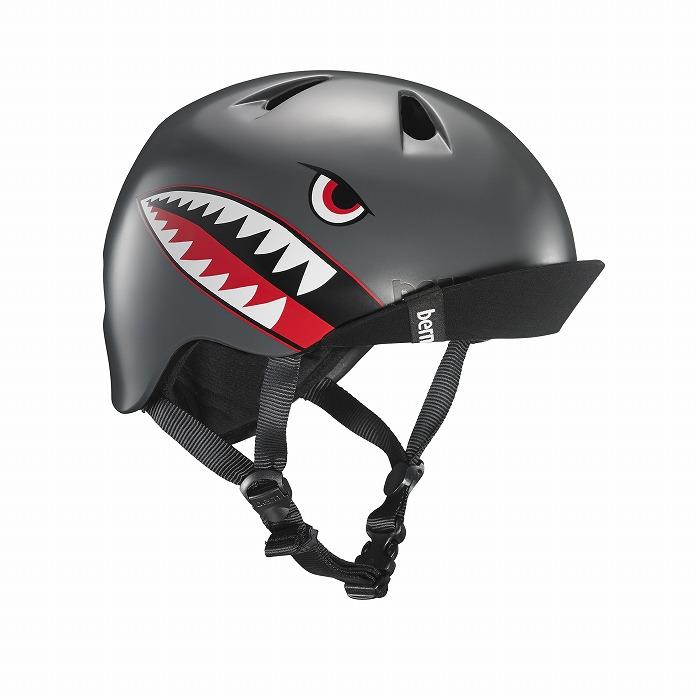 bern(バーン) ヘルメット【NINO(男の子) :XSサイズ/Sサイズ(48~51.5cm) /サテン グレイ フライイング タイガー】 バイザー/ ストライダー 自転車 子供用 キッズ