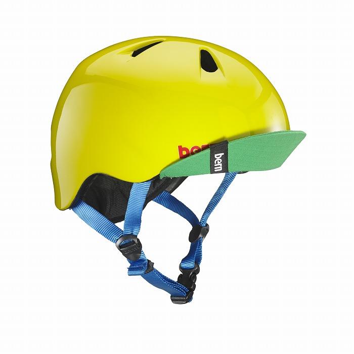 bern(バーン) ヘルメット【NINO(男の子) :XSサイズ/Sサイズ(48~51.5cm) /グロス イエロー グリーン】 バイザー/ ストライダー 自転車 子供用 キッズ