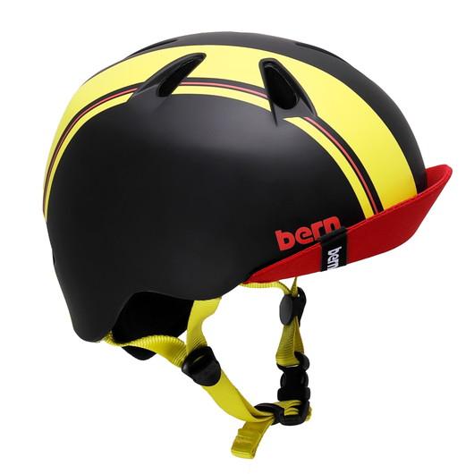 ストライダーと一緒に揃えよう bern バーン ヘルメット NINO 男の子 :Sサイズ Mサイズ 51.5~54.5cm ついに入荷 ブラック レーシング 実物 イエロー スケートボード 自転車 キッズ ストライプ バイザー ストライダー 子供用