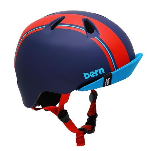 ストライダーと一緒に揃えよう 開催中 bern バーン ついに再販開始 ヘルメット NINO 男の子 :Sサイズ Mサイズ 51.5~54.5cm ブルー レーシング バイザー キッズ ストライダー 自転車 スケートボード ストライプ 子供用 レッド