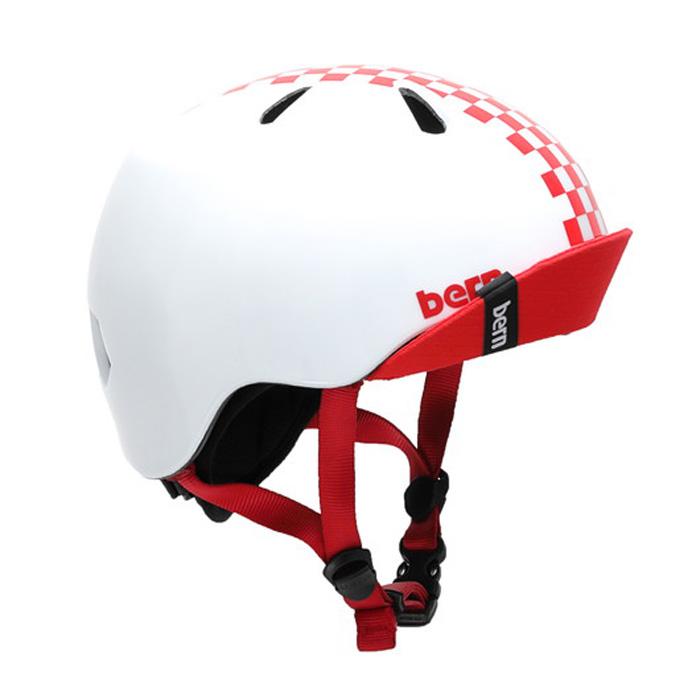 bern(バーン) ヘルメット【NINO(男の子) :Sサイズ/Mサイズ(51.5~54.5cm) /グロスチェッカーレッド】 バイザー/ ストライダー 自転車 子供用 キッズ
