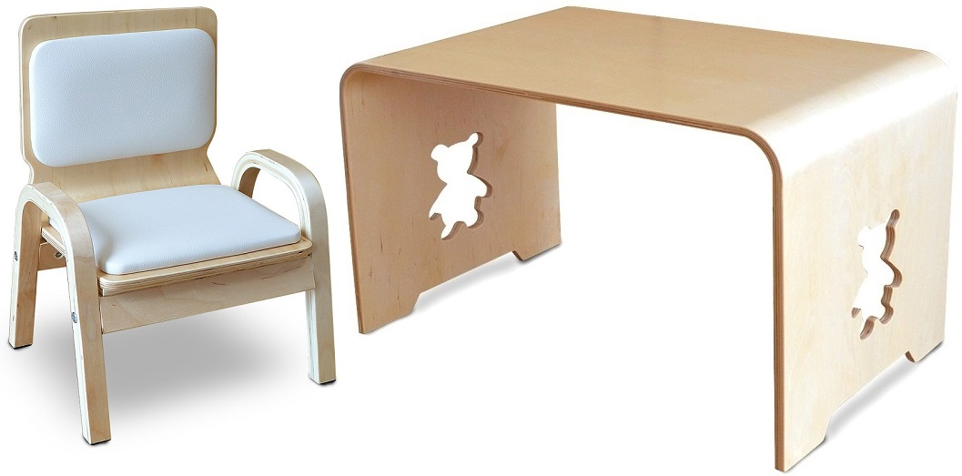 MAMENCHI サイズ大き目な子供用木製テーブルクマ 1台と木製ふんわりキッズチェアホワイト1台のセットテーブルセット子供机 ファースト家具 学習デスク 木製テーブル 机 幼児机 キッズテーブル