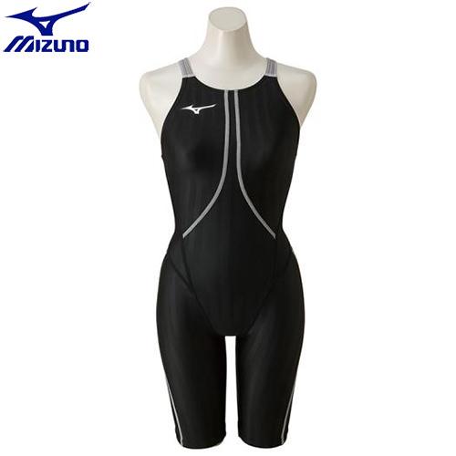 競泳水着 ミズノ MIZUNO ハーフスーツ[レディース](90)ブラック×シルバー N2MG822390 ストリームアクセラ