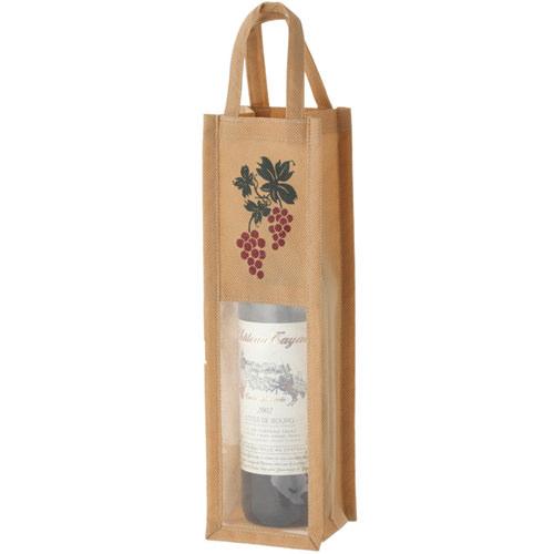 ワインギフトバッグ ファンヴィーノ 不織布ワインバッグ窓付 1本用×100個セット 7129