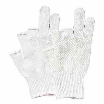 【滑り止め軍手】3本指出し手袋(スベリ止付) [400双入] 品番:476 (M・Lサイズ) おたふく手袋 (作業用手袋) 10ゲージ(薄手) 純綿軍手 すべり止め 丈夫 吸汗性 ハイキング 肌にやさしい