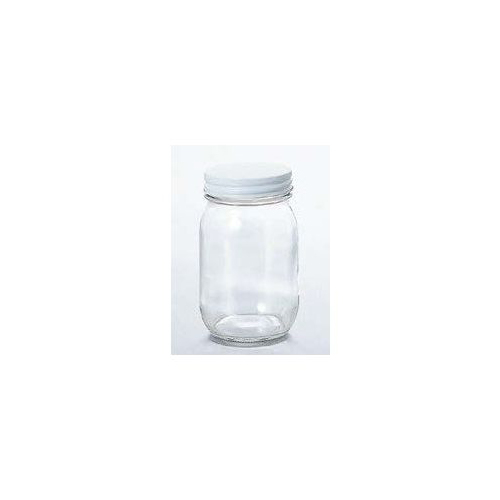 石塚硝子 アデリア 白キャップ保存びん450(24セット)品番:M-6464 【容器・キャニスター】 保存容器 ガラス ストッカー キャニスター ツイストキャップ ジャム瓶 瓶 調味料入れ 保存容器 ガラス キッチン用品