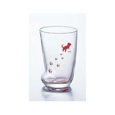石塚硝子 アデリア 足あとグラス(M)いぬ(3セット)品番:6209  タンブラー グラス セット 食器 洋食器 ガラス食器 アデリア