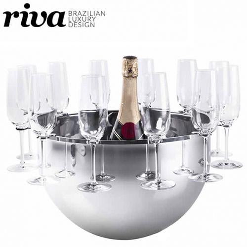 ワインクーラー ステンレス リーヴァ ボッテガ シャンパンバスケット グラスホルダー(12個)付 ND400ST