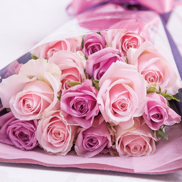 当店は あす楽12時 入荷から2日以内の新鮮なバラだけを使用 品質管理認証と日保ち保証認証取得済み お金を節約 ピンクと紫の15本のバラの花束 紫 紫のバラ パープル ピンク クリスマス 成人式 バレンタイン 薔薇 花 結婚祝い 宅配 即日発送 あす楽 クラシックバレエ 歓送迎会 還暦祝い 指定日 ギフト 土曜営業 プロポーズ 営業
