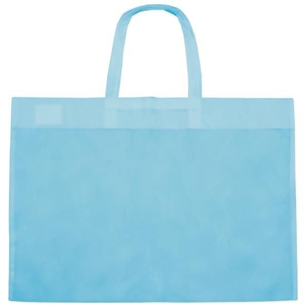 4つ切りサイズの作品も収納可能 情熱セール さくひんバッグ 水色10枚 不織布 肩掛け 入手困難 4つ切りサイズもOK マーカーで書き込める 手提げ