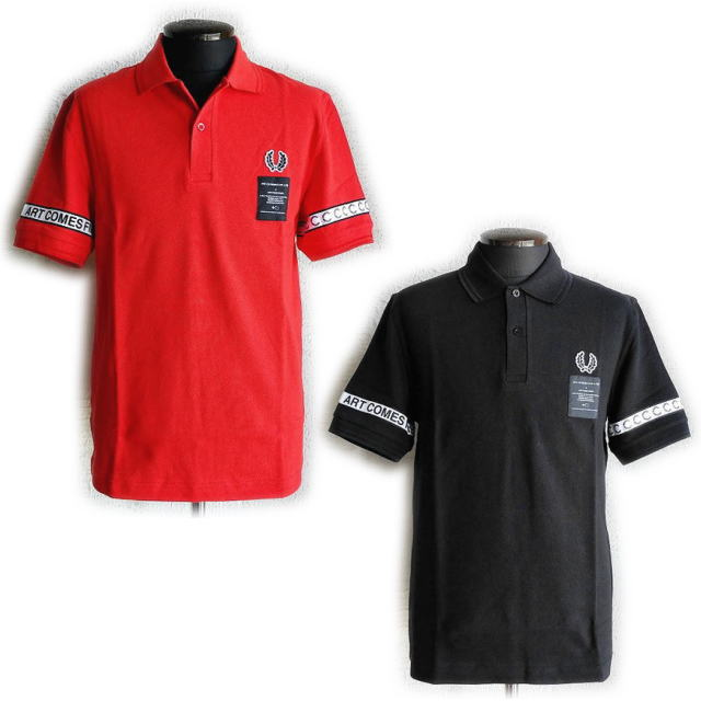 スーパーセール特別価格!!SALE!! FRED PERRY × Art Comes First [フレッドペリー×アートカムズファースト] Taped Pique Shirt [RED,BLACK] テープドピケシャツ ポロシャツ(レッド、ブラック)SM5121 AIS