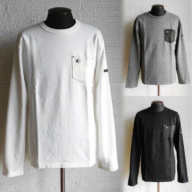 Schott [ショット] LEATHER POCKET L/S T-SHIRT ONE STAR [WHITE,GREY,BLACK] レザーポケットロングスリーブTシャツ ワンスター (ホワイト、グレー、ブラック) 3173078 AHA