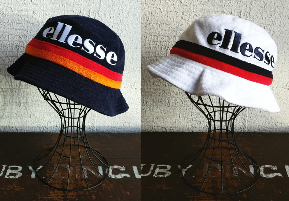 M and A  ellesse  エレッセ  Big Logo Bucket Hat  Navy c0db3df6720
